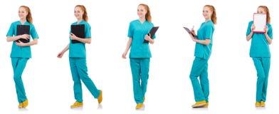 Il donna-medico con il raccoglitore isolato su bianco Fotografia Stock