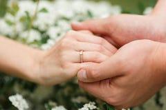 Il donne à son amie une bague de fiançailles dans le jardin botanique Photo libre de droits