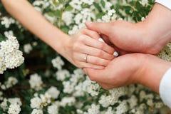 Il donne à son amie une bague de fiançailles dans le jardin botanique Photos stock