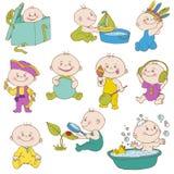 Il Doodle del neonato ha impostato - per il disegno, l'album per ritagli, doccia royalty illustrazione gratis