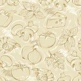 Il doodle della pizza ha impostato su un beige Fotografie Stock