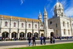 Il DOS Jeronimos di Mosteiro è un precedente monastero altamente decorato, situato nel distretto di Belem di Lisbona Fotografia Stock