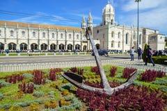 Il DOS Jeronimos di Mosteiro è un precedente monastero altamente decorato, situato nel distretto di Belem di Lisbona Immagine Stock Libera da Diritti