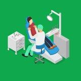 Il dottore Appointment Isometric View del dentista e del paziente Vettore Fotografia Stock