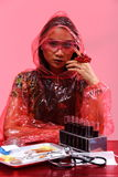 Il dottore asiatico Woman di chimica con Tone Fashion Make rossa sull'immaginazione Immagini Stock