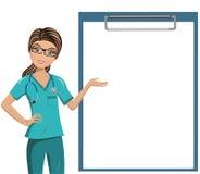 Il dottore Blank Folder Isolated della donna illustrazione vettoriale