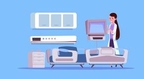 Il dottore femminile Check Hospital Ward Equipment Medical Clinic Concept Illustrazione di Stock
