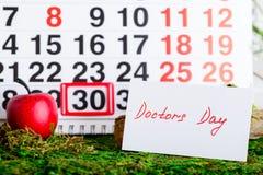 Il dottore nazionale Day di festa sul calendario Immagine Stock Libera da Diritti