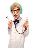 Il dottore pazzo Nerd Immagine Stock