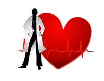 Il dottore With Red Heart EKG Line Illustrazione Vettoriale