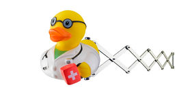 Il dottore Rubber Duck sulle forbici Fotografie Stock