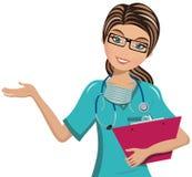 Il dottore Surgeon Writing Folder della donna royalty illustrazione gratis