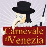 Il dottore tradizionale Holding di peste un segno per il carnevale di Venezia, illustrazione di vettore Fotografie Stock