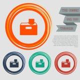 Il download all'icona del hdd sui bottoni rossi, blu, verdi, arancio per il vostro sito Web e sulla progettazione con spazio mand Fotografie Stock