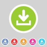 Il download carica l'icona piana, insieme del bottone, simbolo del carico Fotografia Stock Libera da Diritti