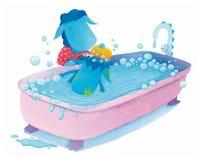 Il drago del blu di bambino sta avendo un bagno Immagine Stock Libera da Diritti