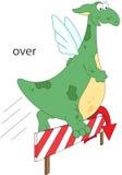Il drago del fumetto salta sopra una barriera Grammatica inglese nelle immagini illustrazione di stock