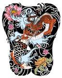 Il drago e il koi disegnati a mano pescano con il tatuaggio del fiore per il braccio, giapponese immagine della carpa di vettore  Fotografia Stock Libera da Diritti