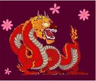 Il drago rosso è creature magiche conosciute in letteratura cinese ed occidentale Progettazione del tatuaggio di Dragon Animal Ve illustrazione vettoriale