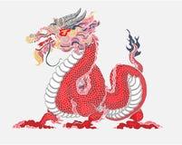 Il drago rosso è creature magiche conosciute in letteratura cinese ed occidentale Progettazione del tatuaggio di Dragon Animal Ve royalty illustrazione gratis