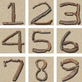 Il Driftwood numera 1 - 9 Fotografia Stock Libera da Diritti