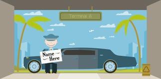 Il driver del Limo accoglie gli ospiti all'aeroporto Fotografie Stock Libere da Diritti