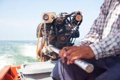Il driver della barca sul mare Fotografia Stock Libera da Diritti