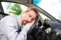 Il driver dorme in un'automobile Fotografia Stock Libera da Diritti