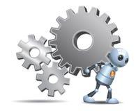 Il droid felice poco robot porta gli ingranaggi su bianco isolato Immagini Stock
