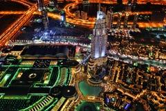 Il Dubai alla notte negli Emirati Arabi Uniti Immagini Stock Libere da Diritti