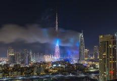 Il Dubai Burj Khalifa New Year 2016 fuochi d'artificio Immagine Stock Libera da Diritti