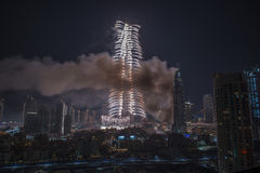 Il Dubai Burj Khalifa New Year 2016 fuochi d'artificio Fotografie Stock Libere da Diritti
