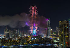 Il Dubai Burj Khalifa New Year 2016 fuochi d'artificio Immagine Stock