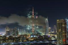 Il Dubai Burj Khalifa New Year 2016 fuochi d'artificio Immagini Stock Libere da Diritti