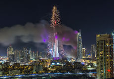 Il Dubai Burj Khalifa New Year 2016 fuochi d'artificio Fotografia Stock