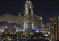 Il Dubai Burj Khalifa New Year 2016 fuochi d'artificio Fotografia Stock Libera da Diritti
