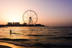 Il Dubai, Emirati Arabi Uniti - 8 marzo 2018: JBR, spiaggia della stazione balneare di Jumeira con Ain Dubai, attrazione futura fotografia stock libera da diritti