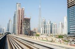 Il Dubai, Emirati Arabi Uniti - 10 settembre 2017: panorama del cielo Immagine Stock Libera da Diritti