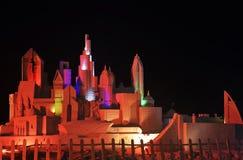 Il Dubai, scultura della sabbia alla notte Immagine Stock Libera da Diritti