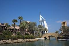 Il DUBAI, UAE - gennaio 05,2018: Vista panoramica del Madinat Jumei Immagini Stock Libere da Diritti