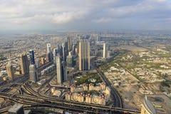Il Dubai visto da Burj Khalifa Fotografia Stock Libera da Diritti