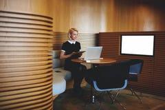Il economict femminile con sta sedendosi nello spazio dilavoro moderno vicino allo schermo con derisione sullo spazio della copia Fotografia Stock Libera da Diritti
