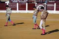 Il EL spagnolo Fandi, Juan Luis Pizarro e Enrique Ponce del torero al paseillo o alla parata iniziale immagine stock
