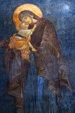 Il Eleusa - vergine Maria benedetto e bambino Fres dipinti antichi immagine stock libera da diritti