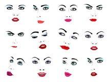Il facial del ritratto di vettore del fronte della donna o il modo femminile di bellezza delle ragazze ha posto alla cura ed alle Immagini Stock Libere da Diritti