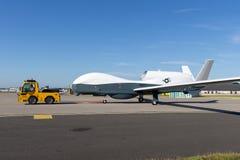 Il falco globale di Northrop Grumman RQ-4 della marina di Stati Uniti ha snervato gli aerei di sorveglianza fotografia stock libera da diritti