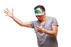 Il fan bello del sostenitore dell'uomo del fronte della bandiera dipinto squadra nazionale dell'Iran ottiene i grida felici di vi Fotografia Stock
