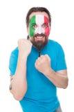 Il fan italiano è felice, isolato su bianco Fotografia Stock