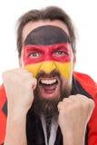 Il fan tedesco di grido è emozionante ed aggressivo immagine stock