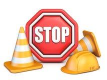 Il fanale di arresto, i coni di traffico ed il casco di sicurezza 3D royalty illustrazione gratis